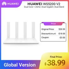 Global Version HUAWEI WiFi WS5200 V2 Wireless Router 1200Mbps Dual Core Dual Band 2.4GHz 5GHz GE Port APP Control Easy Setup
