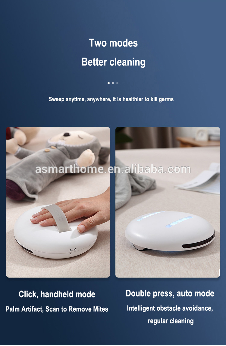 2020 Amazon best seller home hotel 99.9% bacteria Disinfect  UVC light sterilizer robot  bed vaccum cleaner with UV light lamp