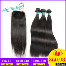 Hair Closure Free-Part Ali-Grace Straight Brazilian with 4--4 Middle 100%Remy 2-Option