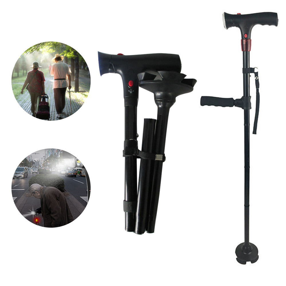 Human - Collapsible Telescopic Folding Cane LED Walking Stick for Hiking Camping and Elderly