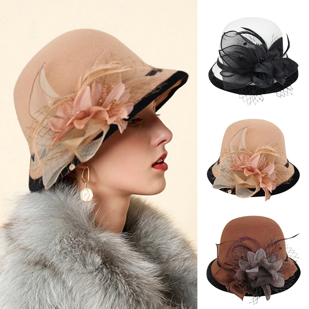 Hats Top-Hat Cloche Felt Woolen Party Formal Fashion Woman Lady Autumn Winter And Gift title=