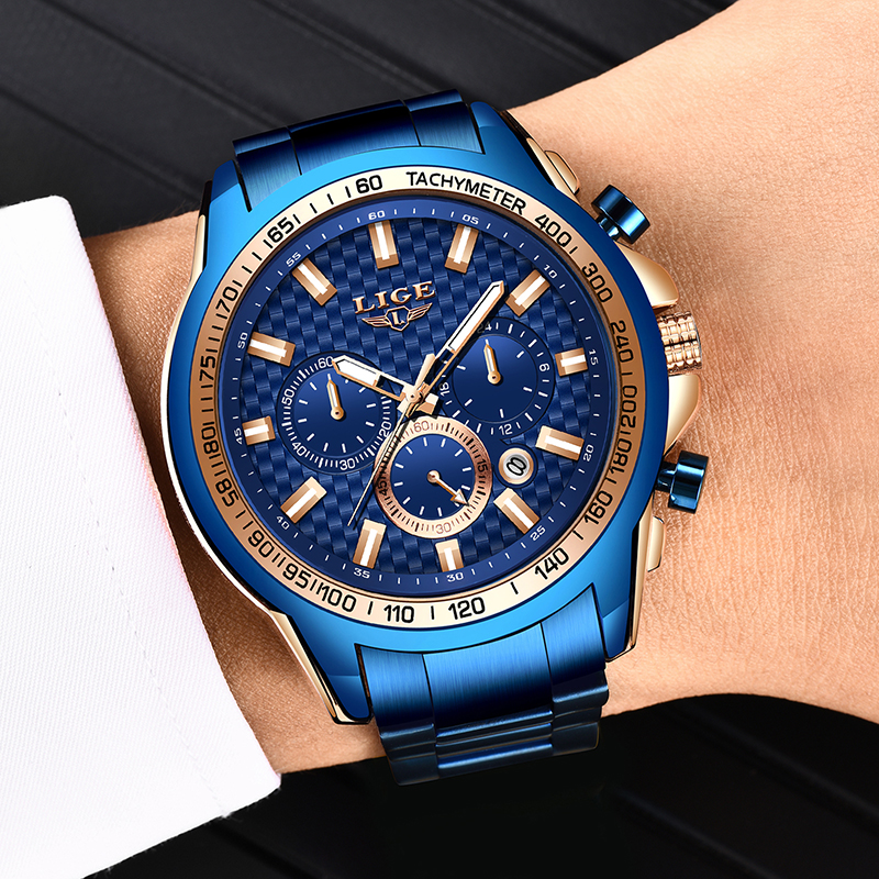 LIGE 2020 New Fashion Blue Watch,Mens Watches Top Brand Luxury Clock Man Military Chronograph Quartz Watch Men Relogio Masculino