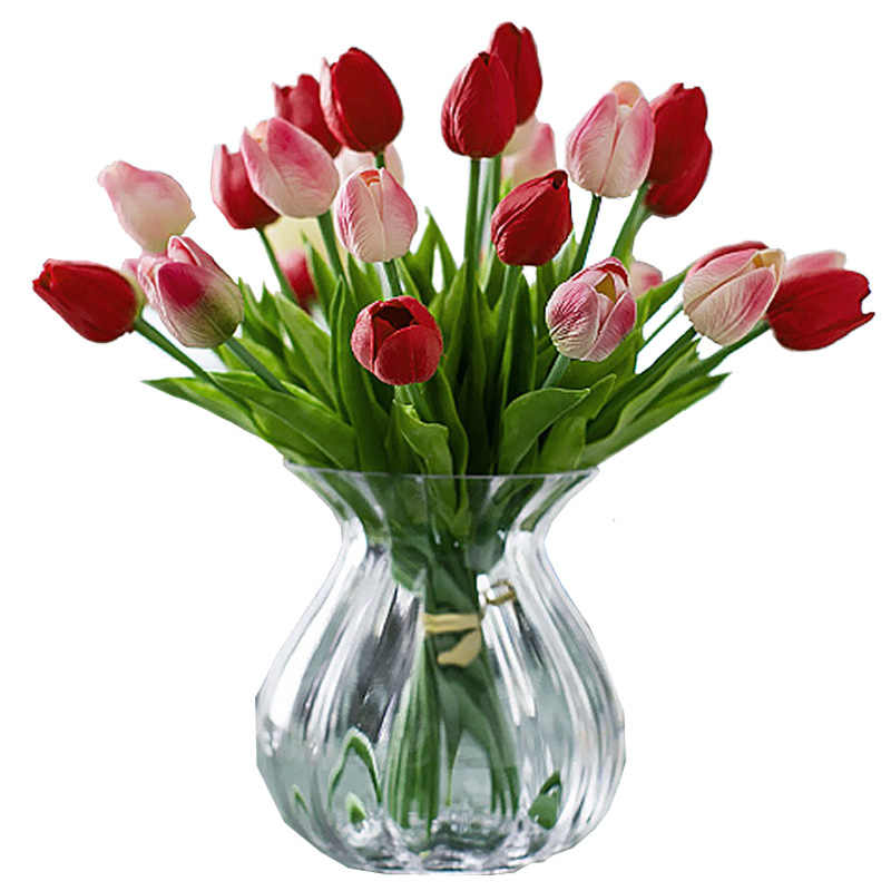 1PC Tulips Artificial Flowers Latex Tulips Flower Artificial Bouquet Fake Flower Mini Tulip For Home Wedding Decoration Flowers