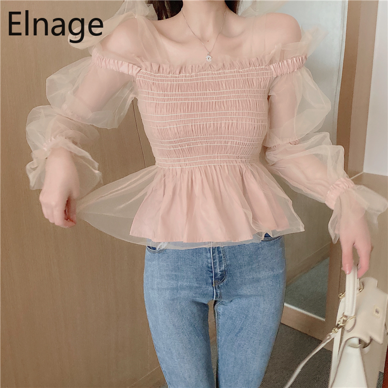 Bow Tie Lace Mesh Shirts Long Sleeve Blouse Women Korean Blusas Mujer De Moda Ropa Mujer Spring Summer Sweet Pink Tops 5A978