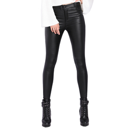 Autumn Winter Womens Leather Pants Women Female Winter High Waisted Pants Leather Trousers PU Skinny Stretch Pencil Pantalons