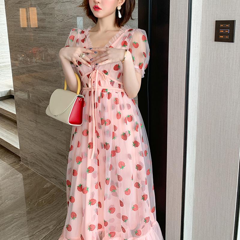 Runway Rhinestone Diamonds Strawberry Pink Mesh Maxi Dress Women Short Puff Sleeve Sexy V-neck Lace-up Bow Tunic Lolita Dress (8)