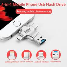 BRU usb OTG флешка usb флеш-накопитель 3,0 3in116G32G64G128G256GB для iPhone 11 Pro XS X Android type-c(Китай)