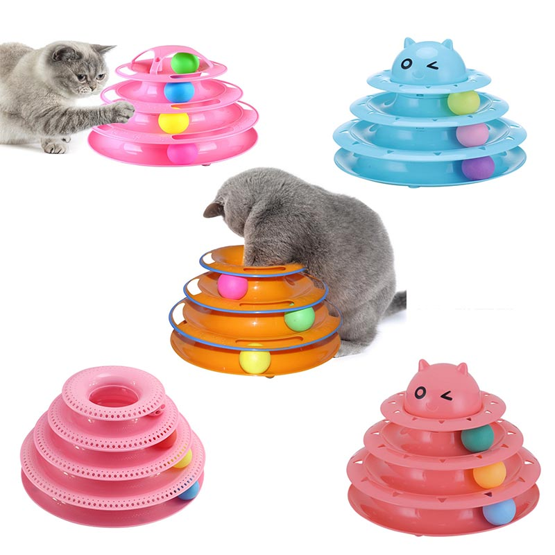 Funny cat pet toy cat toy smart triple play disk cat toy ball cat crazy ball disk IQ training interactive toy