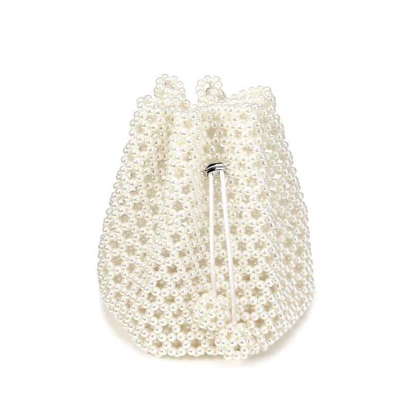 Hollow Out Pearl Bucket Handbag Women Handmade Beaded String Small Evening Clutch Shoulder Bag Ladies Exquisite Dinner Purses