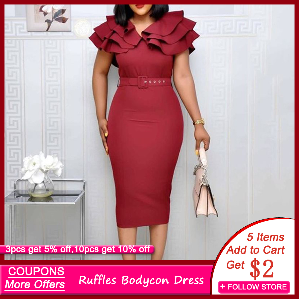 Mid-Calf Falbala Short Sleeve Pullover Plain Dress Women Summer Ruffle Elegant Wine Red Bodycon midi Dress(with belt)