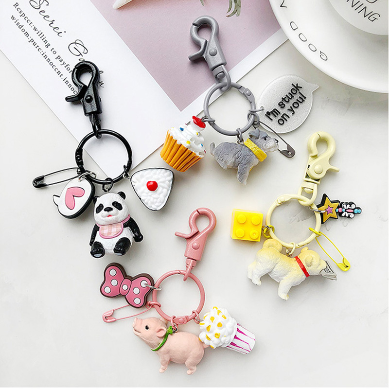 Pink Dangling Pig Head Bells Decor Key Ring Keychain Keyring