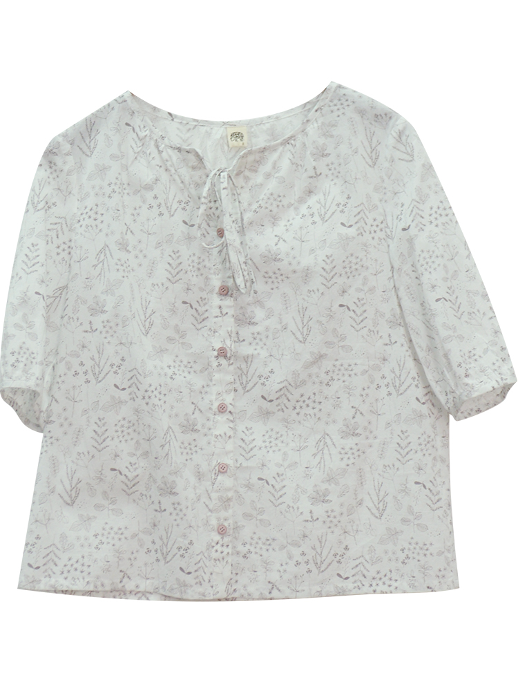 CYNTHIA 2020 Summer Women Blouse Female Vintage O-neck Half-sleeve Loose Straight Floral Bow-tie Shirts