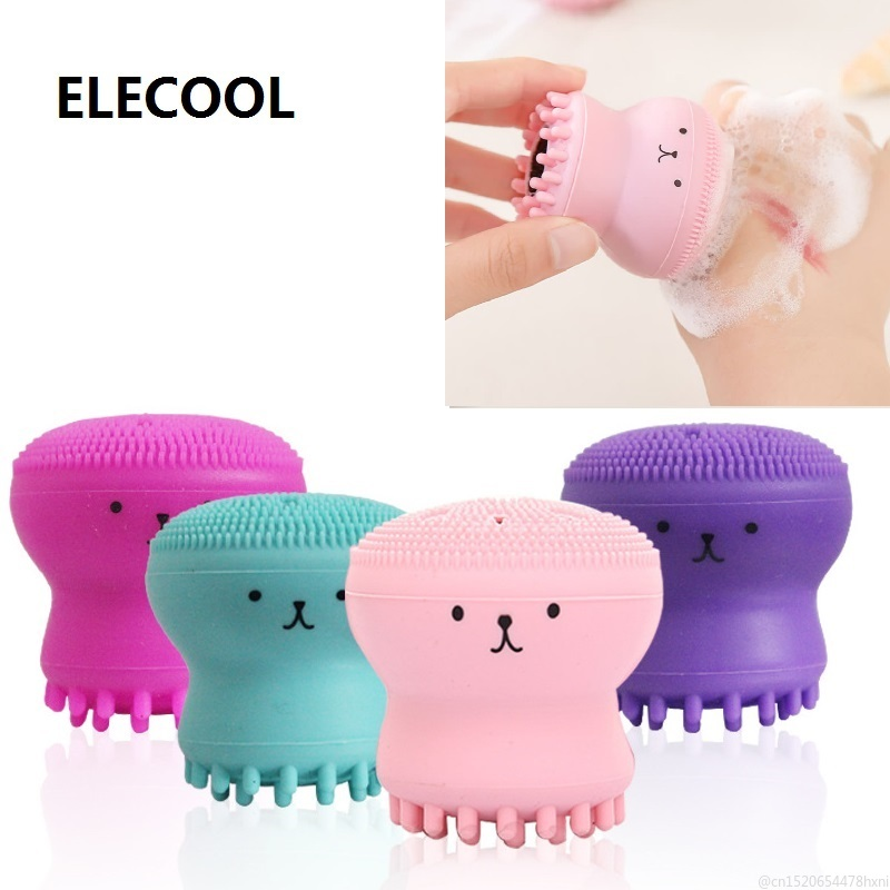 Facial-Cleaning-Brush Skin-Care Deep-Pore Exfoliating Silicone for Limpiador Octopus-Shape title=