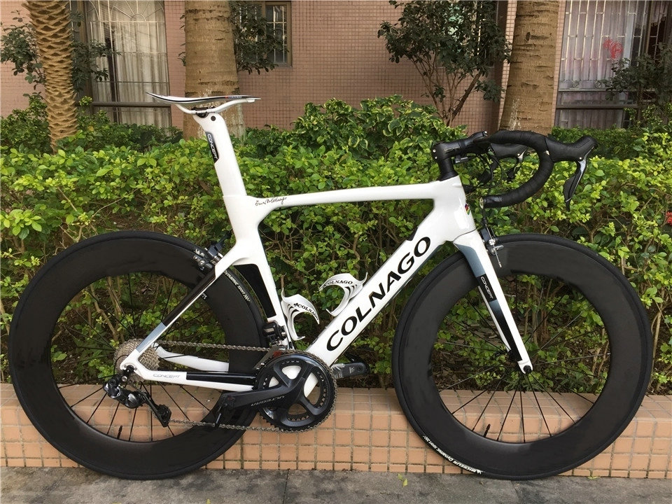 Bicycle Road-Bike Carbon-Wheelset Complete Colnago R8050 R7010 DI2 White CONCEPT  title=