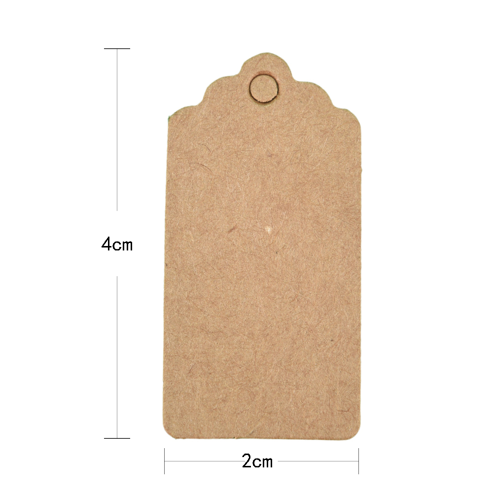 100Pcs Rectangle Paper Label 4x2cm Kraft Price Tags For Clothing Hang DIY Gift Christmas Wedding Party Decor Supplies