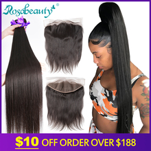 Rosabeauty Straight 8 - 28 30 40 Inch Bundles With Lace Frontal Closure Cheap Remy Brazilian 100% Human Hair Weave And Closures