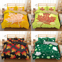 Boniu Fall Leaves Bedding Set Plant Bedclothes Adults Duvet Covers Pillowcase Single Twin Full Size Luxury Bed Sets For Home(China)