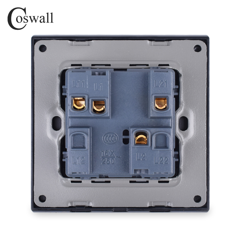 COSWALL 2 Gang 1 Way Crystal Tempered Glass Panel Light Switch On / Off Rocker Wall Switch Interruptor 16A Black White Grey Gold