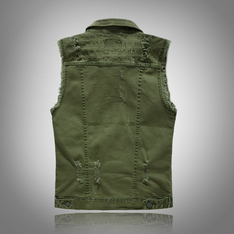 Personlity New Brand Mens Korean Slim Fit Denim Vest Sleeveless Single Breasted Punk Frayed Plus Size M-5XL Male Outerwear Top
