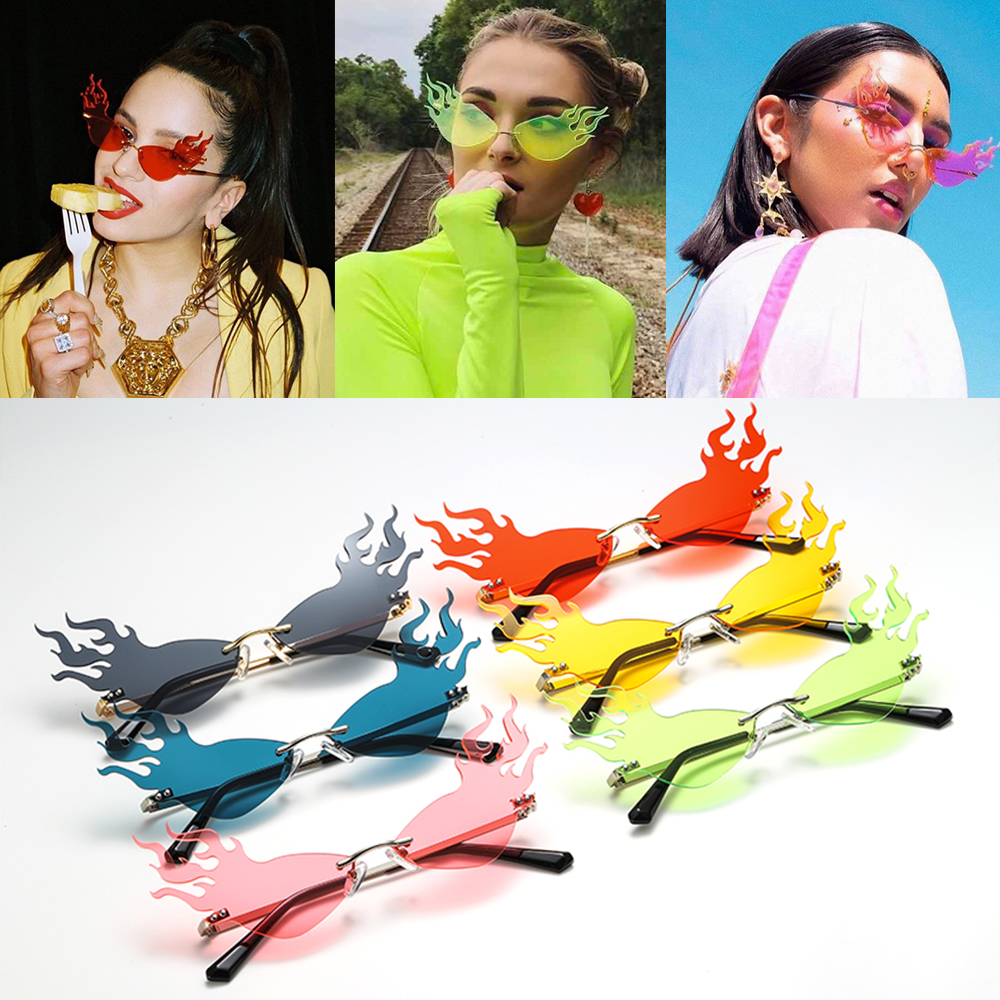 Sunglasses Women Eyewear Fire-Wave-Flame Trending Fashion Rimless Party Wide-Side Luxury title=