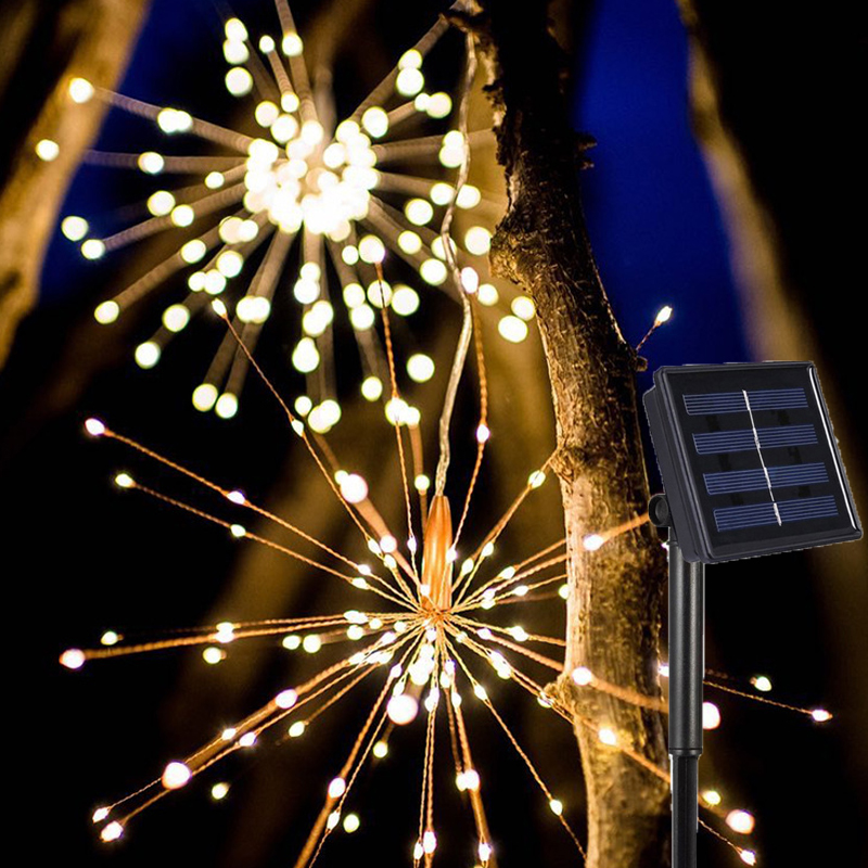 DIY Solar Fireworks String lights LED String Christmas Festive Fairy lights Outdoor Solar Lamps For Garden Christmas Wedding