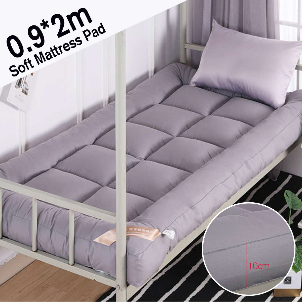 90x200cm Mattress Ergonomic 10cm Thickness Foldable student dormitory Mattresses Cotton Cover Tatami Single Bed Size