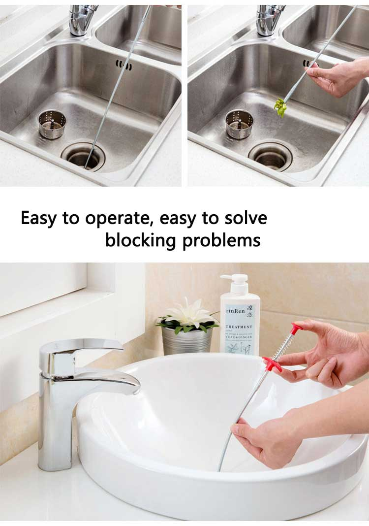 Drain Snake, Drain Cleaner Sticks Clog Remover Cleaning Tools 23.6 Inch Spring Pipe Dredging Tools Household for Kitchen Sink