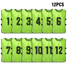 Jersey Practice-Vest Soccer-Team Training Pinnies Sports Adult Youth Bib 12PCS Numbered