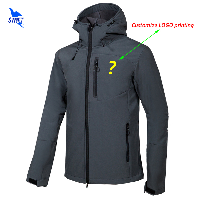 Customize LOGO Softshell Jacket Men Hooded Waterproof Thermal Fleece Outdoor Hiking Clothing Skiing Trekking Camping Ski Clothes