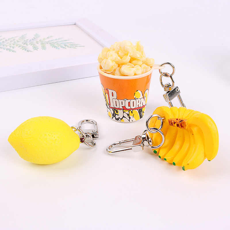 2020 New Creative Popcorn Banana Lemon Keychains Keyring for Women Car Key Holder Pendant Simulation Food Accessories Wholesale