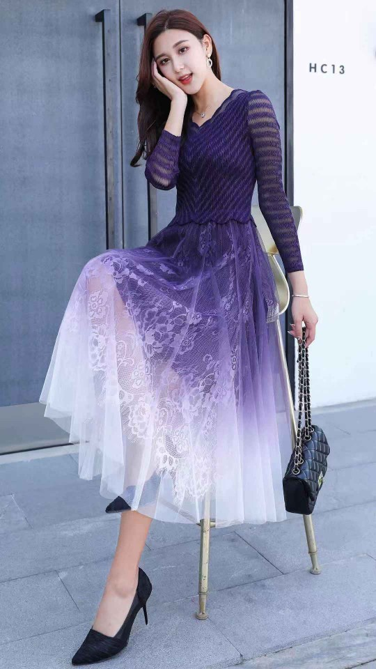 HOT SELLING Miyake three quarter v-neck  fold Mesh Lace solid Pleated dress IN STOCK