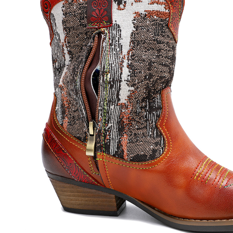 New Genuine Leather Fine Printed Ladies Shoes Ankle Boots Vintage Handmade Chunky Heel Embroidery Western Boots Shoes For Woman  (8)
