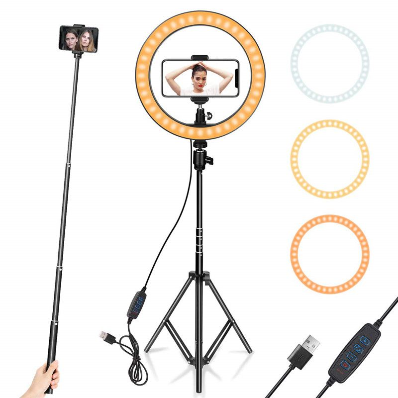 """3 Modes Dimmable Desk Selfie Ring Light Compatible with iPhone//Android 12/"""" Ring Light with Tripod Stand Adjustable /& Phone Holder /& Remote Control for Makeup//Live Streaming//YouTube Video//Photography"""