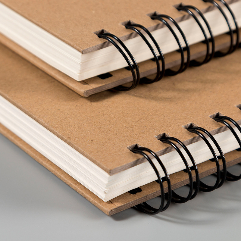 60 Sheets Retro Spiral Coil Sketchbook Kraft Paper Notebook Sketch Painting Diary Journal Student Note Pad Book Memo Sketch Pad