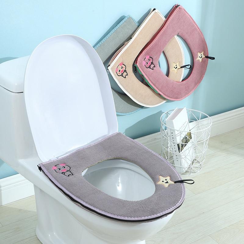 3 in 1 Bath Toliet Seat Cover Mats Washable Bathroom w// Zipper Set Home Decor HG