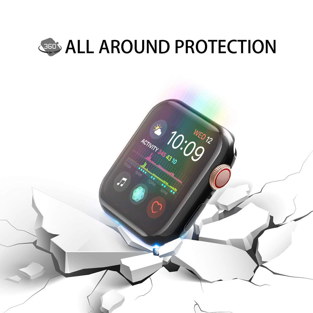 Cover Case For Apple Watch 5 4 3 band 44mm 40mm 42mm 38mm iwatch Screen Protector Silicone Protective Protection Screenprotector
