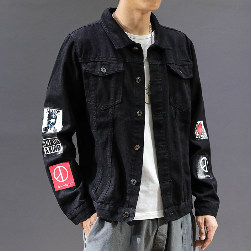 2020 spring new men's high-quality denim jacket men's casual streetwear hip-hop Slim pilot jacket large size denim