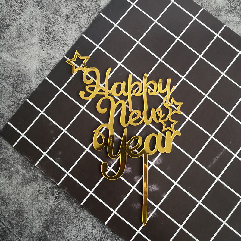 Xmas Party Supplies Happy New Year Rose Gold Red Star Cake Topper Acrylic Decor