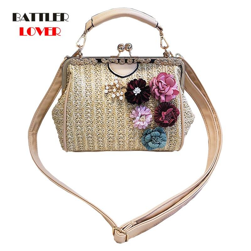 Women Vintage Rattan Handbag Straw Bags Lady Simple Weave Bag Handmade Casual Large Tote 2020 New Bohemian Summer Beach Female