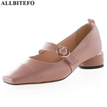 ALLBITEFO comfortable butterfly knot fashion ladies spring summer shoes woman shoes genuine leather women heels square heel