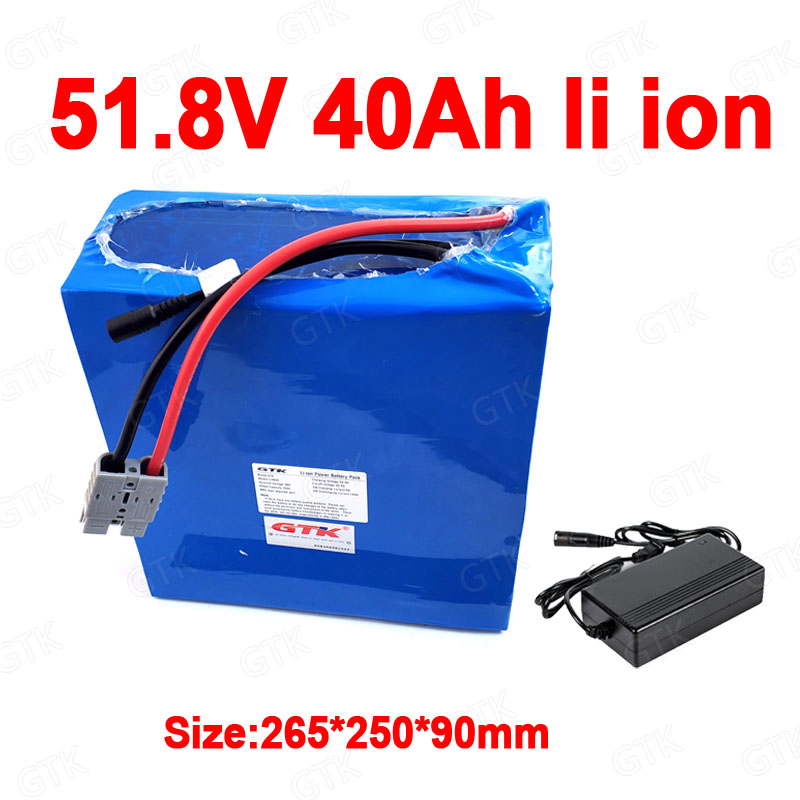 GTK 51.8V 40AH lithium ion battery 52V 40Ah 14S BMS li ion bateria for 48V 2500W 3000w scooter Mountain ebike + 10A charger