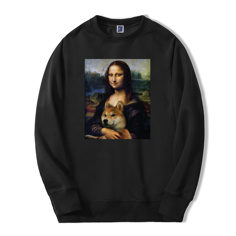 2019 Autumn Winter Hoodies Men Mona Lisa Shiba Inu Doge Tracksuit Fashion Men Fleece Casual Warm animal hip hop Sweatshirts
