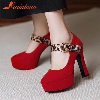 Karinkuna On Sale Plus Size 33-43 Women Shoes New Trendy Platform Flock Buckle Strap High Heels Party Wedding Female Shoes Pumps