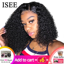 ISEE Wigs Short Human-Hair-Wigs Lace-Frontal Women Bob Curly for Remy 360 Brazilian