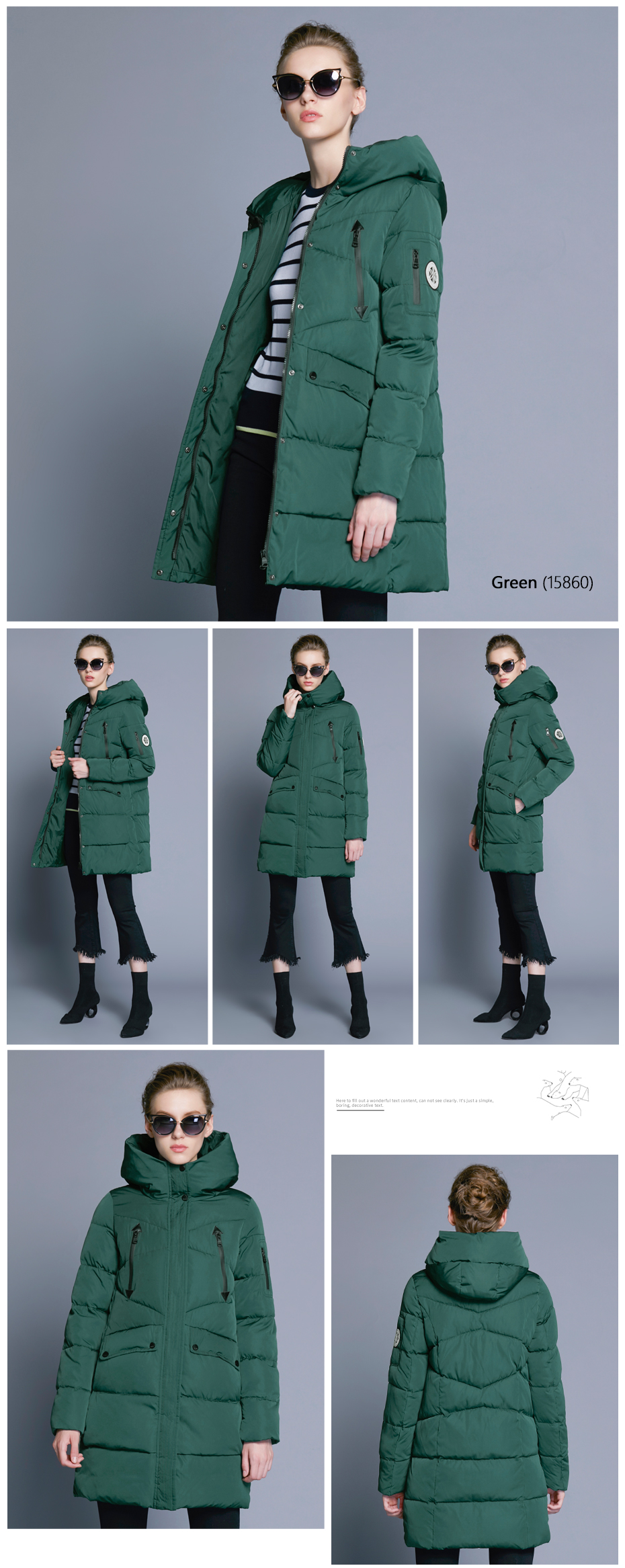 ICEbear 19 New Women Winter Jacket Coat Slim Winter Quilted Coat Long Style Hood Slim Parkas Thicken Outerwear B16G6155D 9