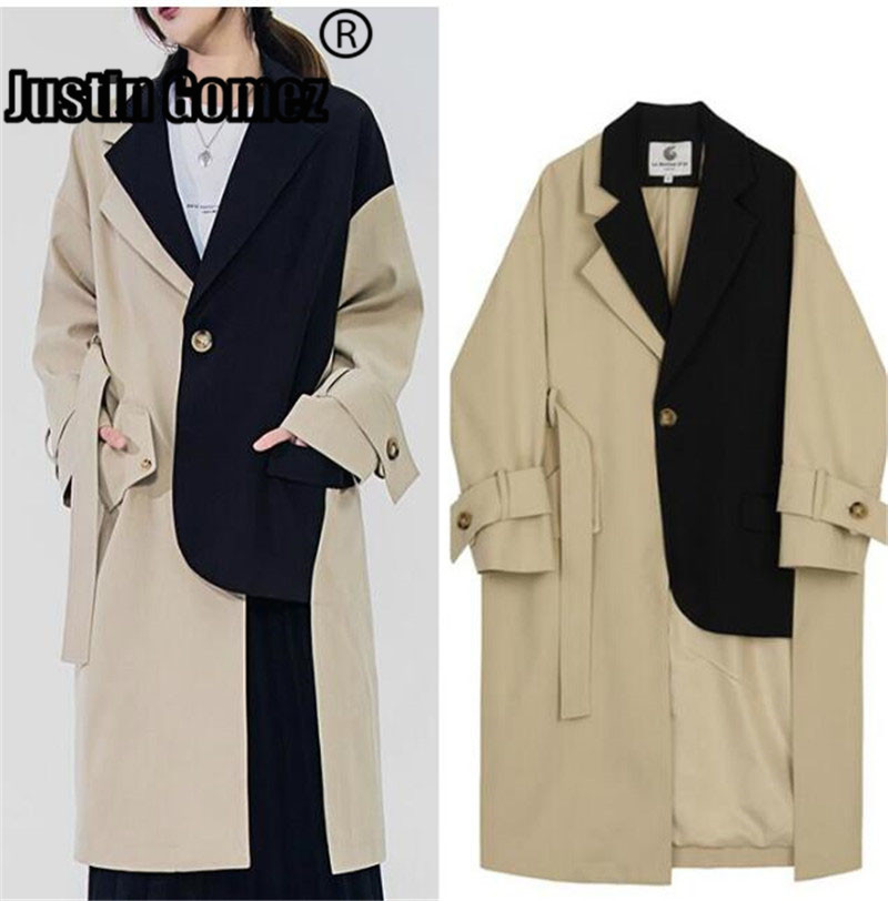 Womens Casual Button Closure Asymmetrical Winter Wool Hooded Coats Long Personality Collar Trench Jackets Coat