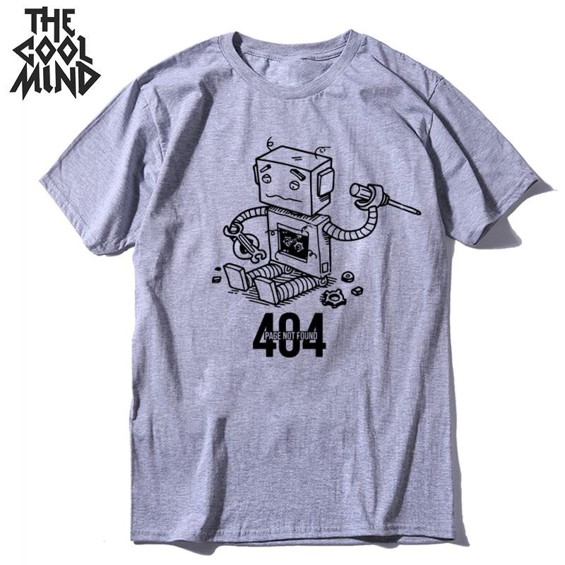 COOLMIND 100% cotton 404 print short sleeve casual cool men T shirt summer loose men tshirt o-neck t-shirt mens tee shirt IN0301