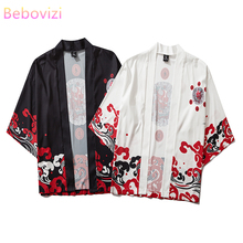 Japanese Fashion Blouse Kimono Cardigan Asian Clothes Obi Samurai Haori Harajuku Black