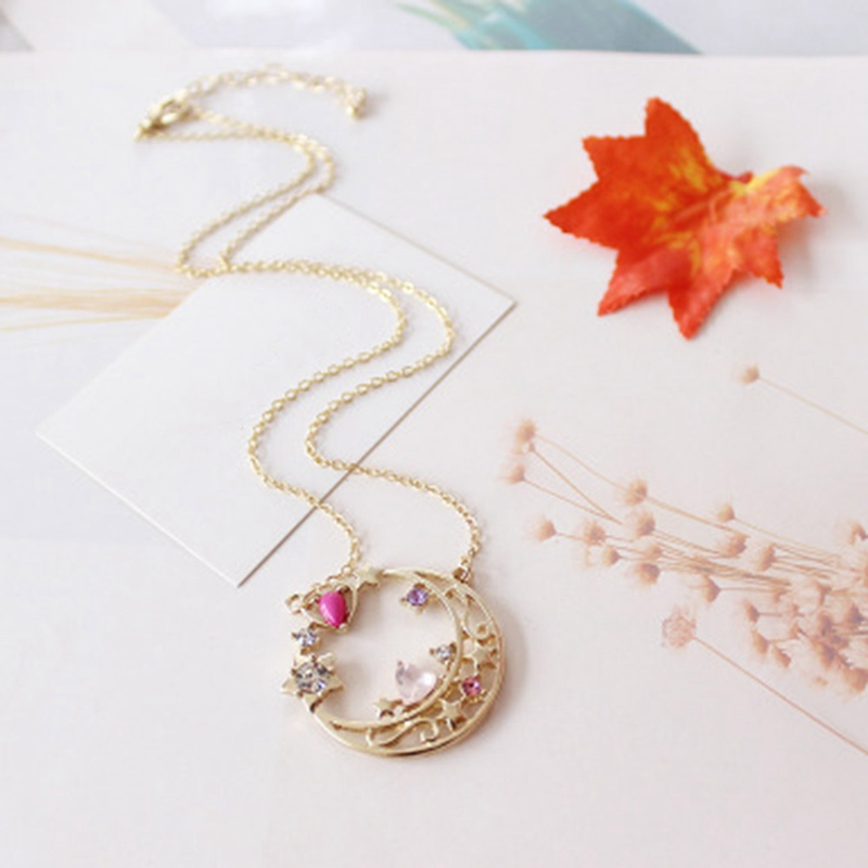 Anime Moon Pendant Necklace Healing Crystal  Natural Stone Sailor Moon Necklace