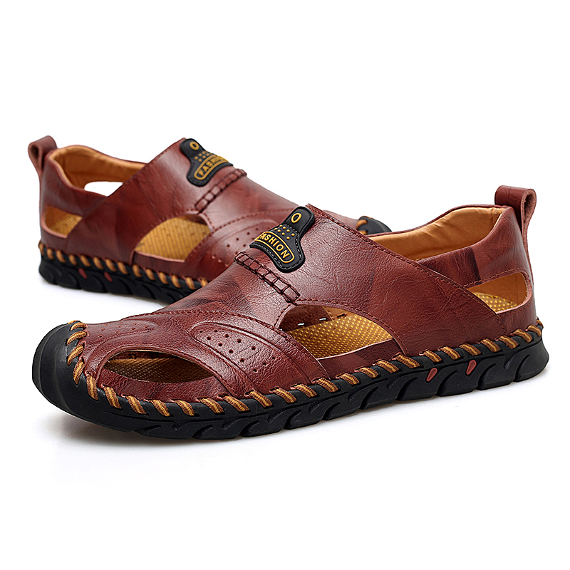 NEW Men Leather Beach Sandals Summer Outdoor Shoes for Male Hollow Breathable Handmade Casual Sneakers Slip On Walking Footwear